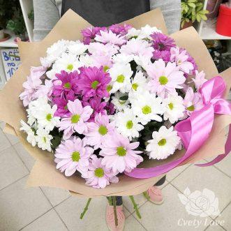 Букет из 13 кустовых хризантемы