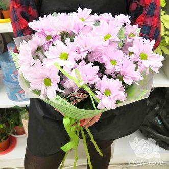 Букет из 5 розовых хризантем