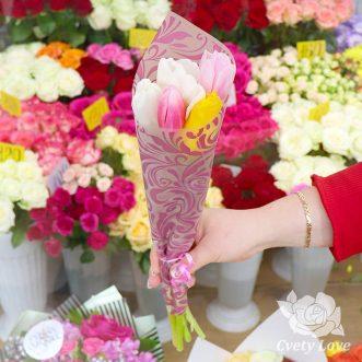 Мини-букет из 5 тюльпанов