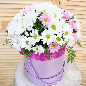 Белые и розовые хризантемы в шляпной коробке